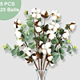 PACETAP Cotton Stem Decor, 25 Balls Farmhouse Cotton Blossom Stems with Eucalyptus Leaves, 5 Pick 20 Inch for House Room…