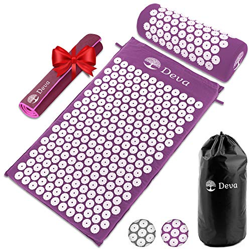 Acupressure Mat Ideal for Pain Relief for the Back and Neck Deva is Excellent for Stress Relief Relaxation and Sleeping With a Microfiber Towel for Adjusting Acupoints Intensity, Perfect for Beginners