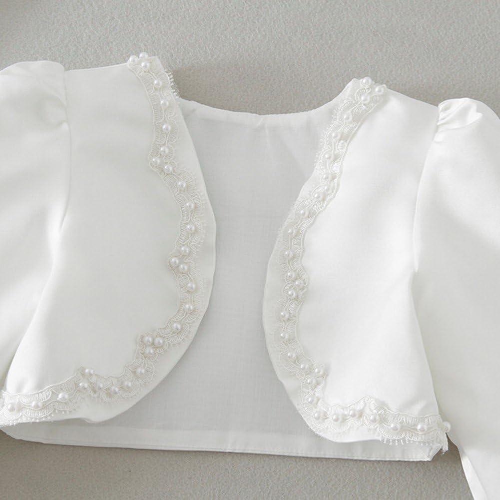iiniim Kids Girls Long Sleeves Beaded Bolero Jacket Shrug Wedding Bridesmaid Party Formal Dress Outwear