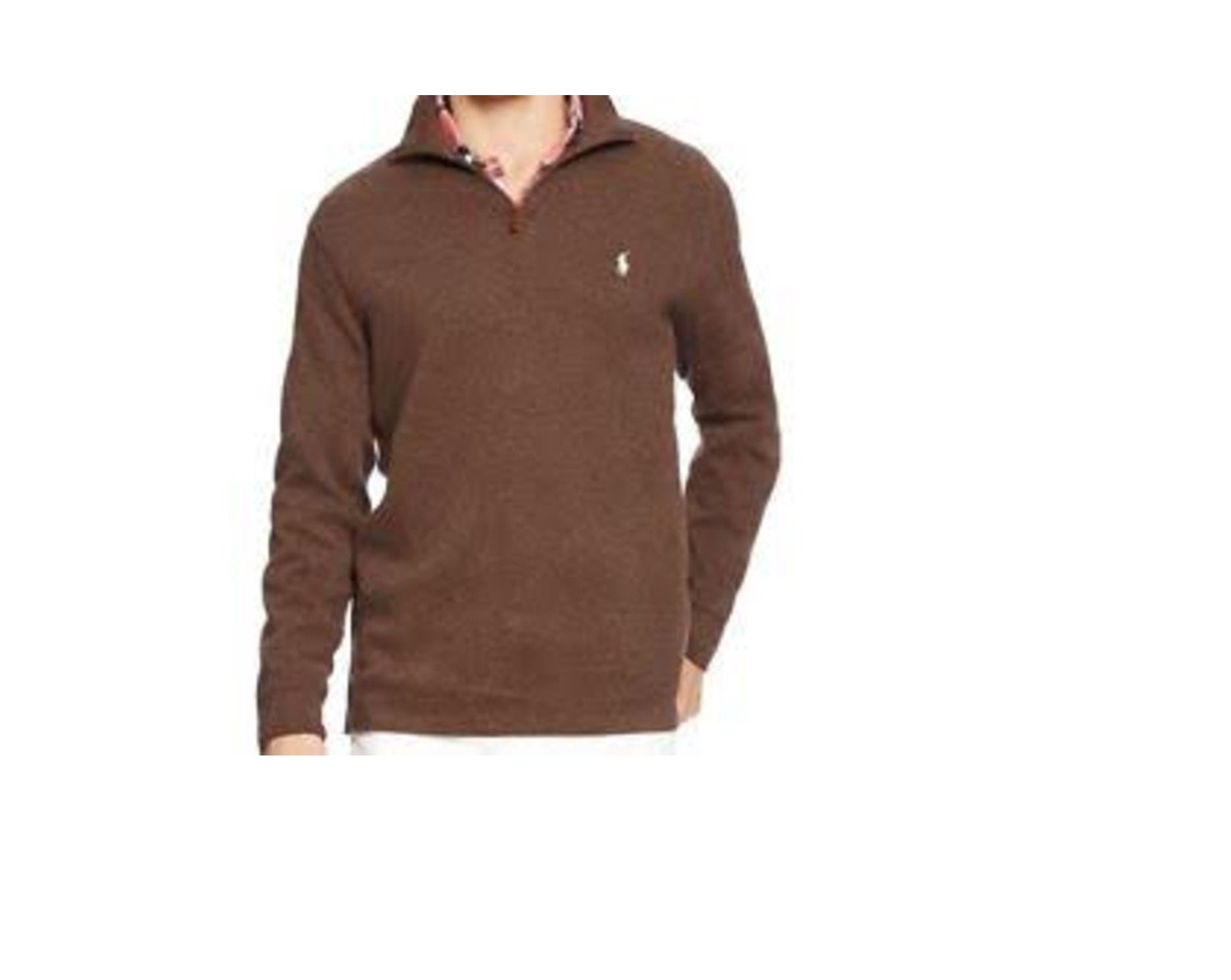 Polo Ralph Lauren Mens French Ribbed Sweater (L, Nutmeg Brown)