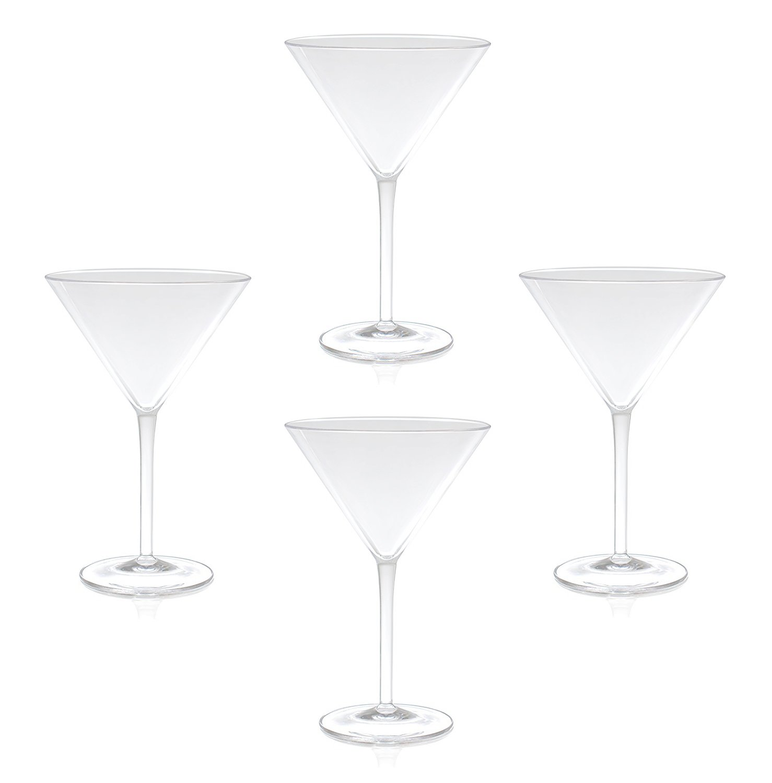 QG 9 oz Clear Acrylic Plastic Martini Glass Set of 4, 88721-CL4P