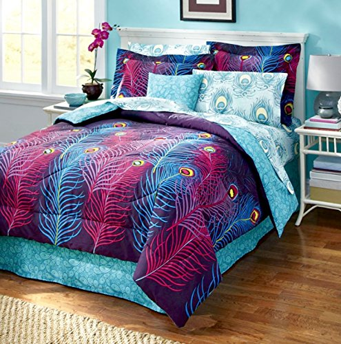 PEACOCK FEATHER Completely REVERSIBLE Comforter~Sham~Bedskirt & Sheet Set (6pc Twin Size Bed In A Bag)
