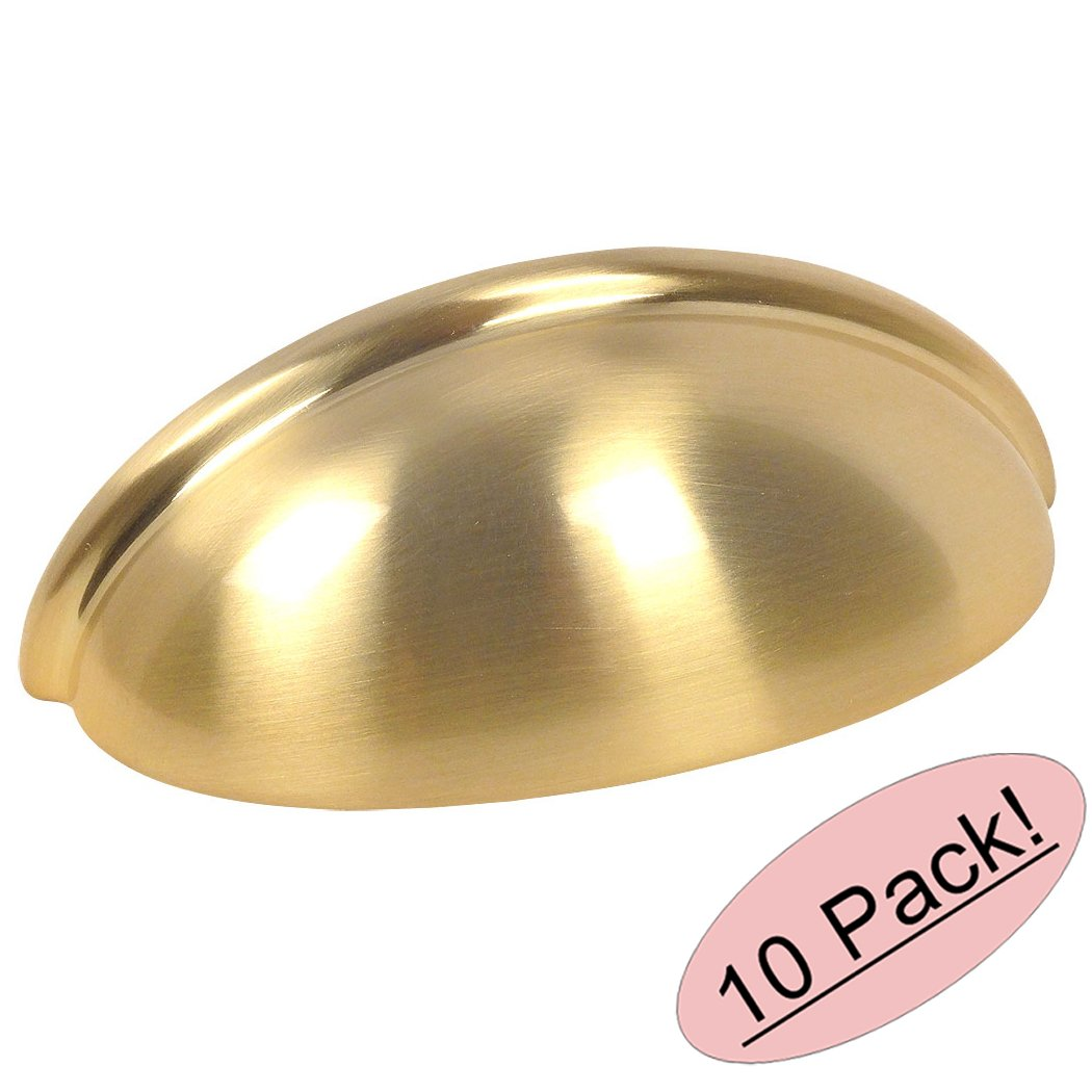 10 Pack - Cosmas 783BB Brushed Brass Cabinet Hardware Bin Cup Drawer Cup Pull - 3'' Hole Centers