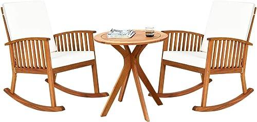 Tangkula 3 Piece Wood Patio Rocking Chair Set