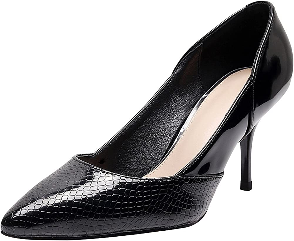ANUFER Women Elegant Pointed Toe Stiletto Heel Pumps Office Work Dress Shoes