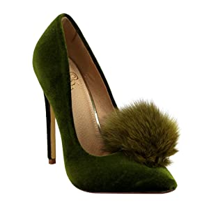 Liliana Affair Velvet Pointy Toe Stiletto High Heel Fur Pom Slip On Pump Slide Shoe Olive 11