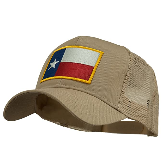 c9eeb6a4cc8fe Texas State Flag Patched Mesh Cap - Khaki OSFM at Amazon Men's ...