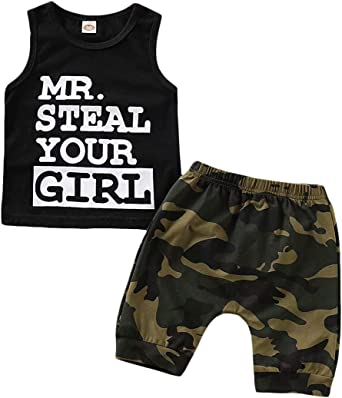 Camouflage Shorts Summer Outfit Set Sinda Toddler Baby Infant Boy Clothes Mr Steal Your Girl Vest