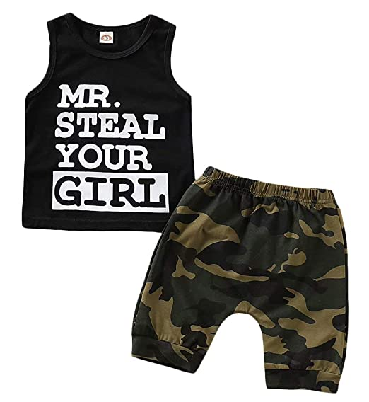 a42901c4b1cd Toddler Baby Infant Boy Clothes Mr Steal Your Girl Vest +Camouflage Shorts  Summer Outfit Set