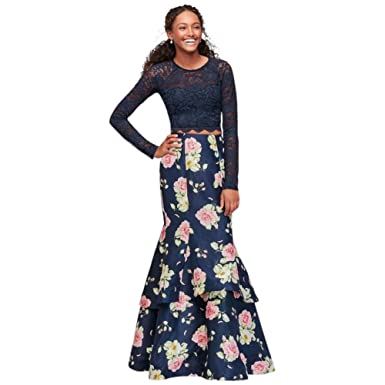 Scalloped Lace and Shantung Two-Piece Prom Dress Style 9819PZ8S, Navy, 5 at Amazon Womens Clothing store: