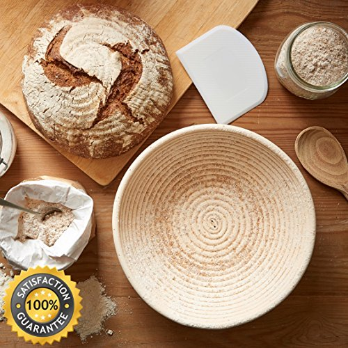 Bread Proofing Basket 10 Inch Set | Large Rattan Banneton w/ Dough Scraper, Linen Liner and Helpful Instructions | Perfect for New Bakers | For Artisan Boule Sourdough Bread Making by DoughDreams (Image #5)
