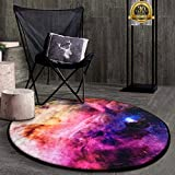 HIGOGOGO Round Area Rug, Galaxy Round Rugs Starry Night Rugs Carpets for Home, Nonslip Mats Carpets for Room Furniture Bedroom Dining Room Decor, Diameter: 39 Inch