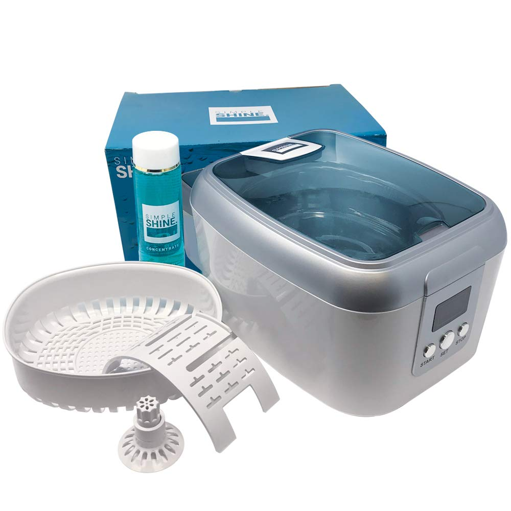 Ultrasonic Jewelry Cleaner Kit - New Premium Cleaning Machine and Liquid Cleaner Solution Concentrate - Digital Sonic Cleanser for Watches Glasses Dental and More by Simple Shine.