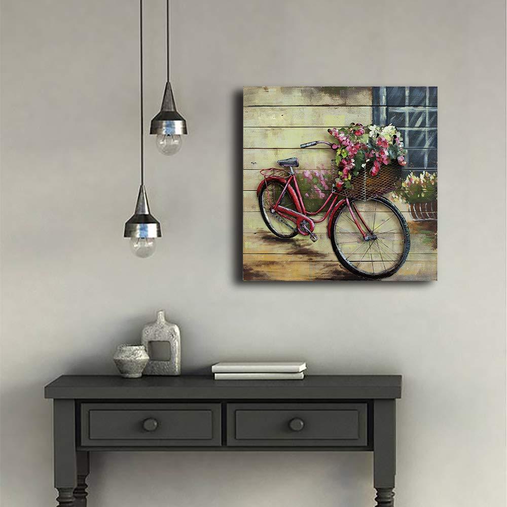 Schlafzimmer 100/% Handgemachte Handgemalte Gem/älde 3D Malerei Massivholz mit Metall Fahrrad Wandkunst Kunstwerk Bild 3D Gem/älde abstraktes Art Decor f/ür Wohnzimmer DharmaDecor 80x80cm