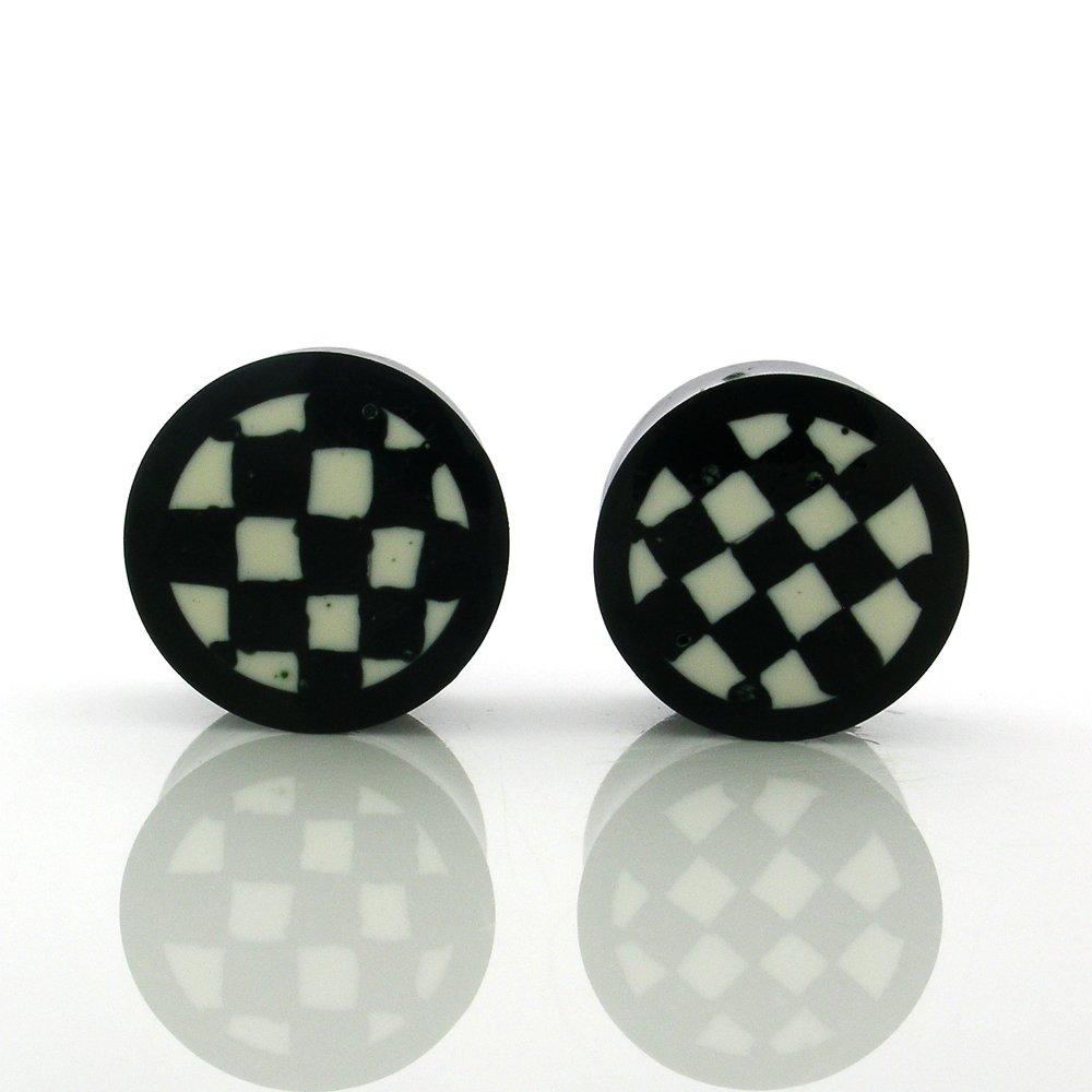 Handmade Ear Plugs 20mm-Double Flare Checkers Inlay Water Buffalo Horn Organic 1pair