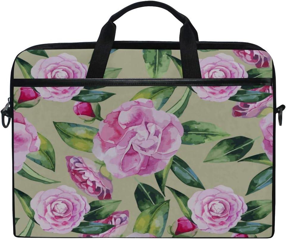 College Students Business People Office Workers Briefcase Messenger Shoulder Bag for Men Women Laptop Bag Camellia Pattern 15-15.4 Inch Laptop Case