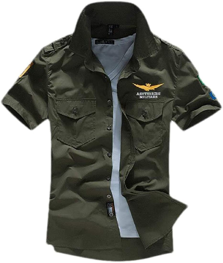 YYG Mens Embroidery Print Short Sleeve Basic Outdoor Cotton Military Shirts