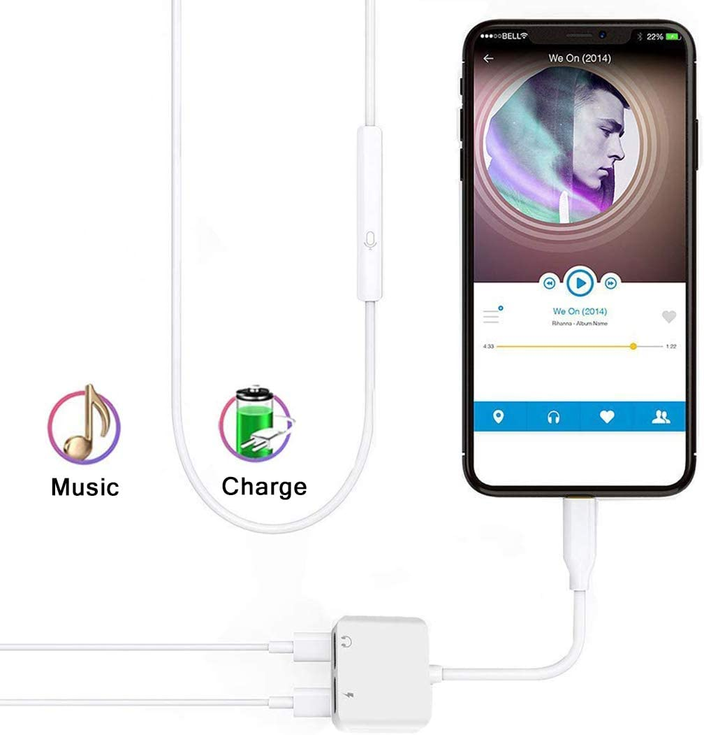 Audio+Charge+Volume Control+Call Support All iOS Systems Headphone Adapter for iPhone Charger Adaptor Aux Cable Jack Dongle Earphone Compatible for iPhone X//XR//XS//XS Max//8//8 Plus//7//7 Plus Splitter