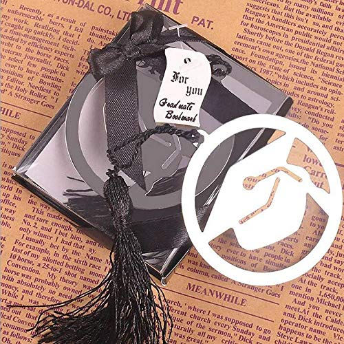 Graduation Party - 100pcs Graduation Cap Metal Bookmark With Elegant Black Tassel Party Souvenirs Graduate Faovr Gifts - Confetti Banner Yard Adults White Table Sign Tableware Texas Kit ()