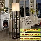 QIANGUANG Indoor lighting 1.6m Wood Floor Lamp with Shelves USB charging socket phone for Bedroom Living Room(no bulb) (Brown)