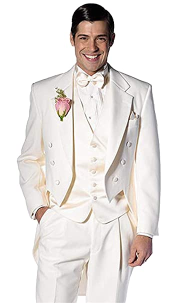 Amazon.com: Traje de 3 piezas para hombre blanco de doble ...
