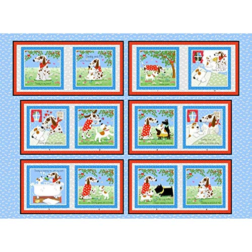 (Henry Glass Daddy & Me Dog Soft Book 36'' Panel Fabric, Sky Blue)