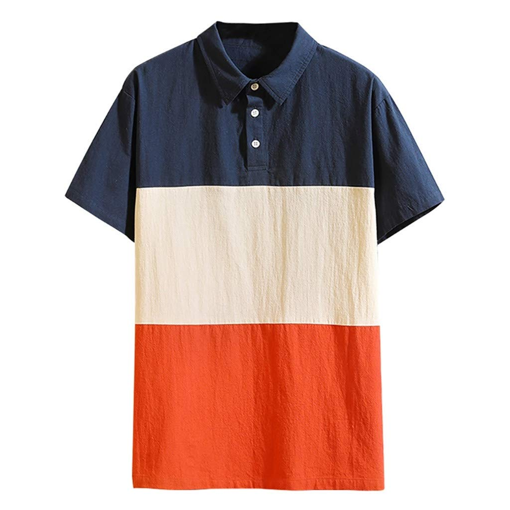 Men's Patchwork T-shirt Lapel Short Sleeve Button Down Summer Casual Basic Loose Fit Work Blouse Tee (XXXX-Large, Navy)