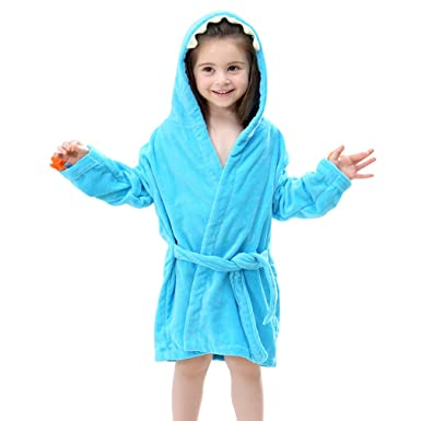 IDGIRL Toddler Cotton Bathrobe Baby Boy Girl Dinosaur Hooded Bath Towel Robe  for Kids Blue 3 8ea466d92