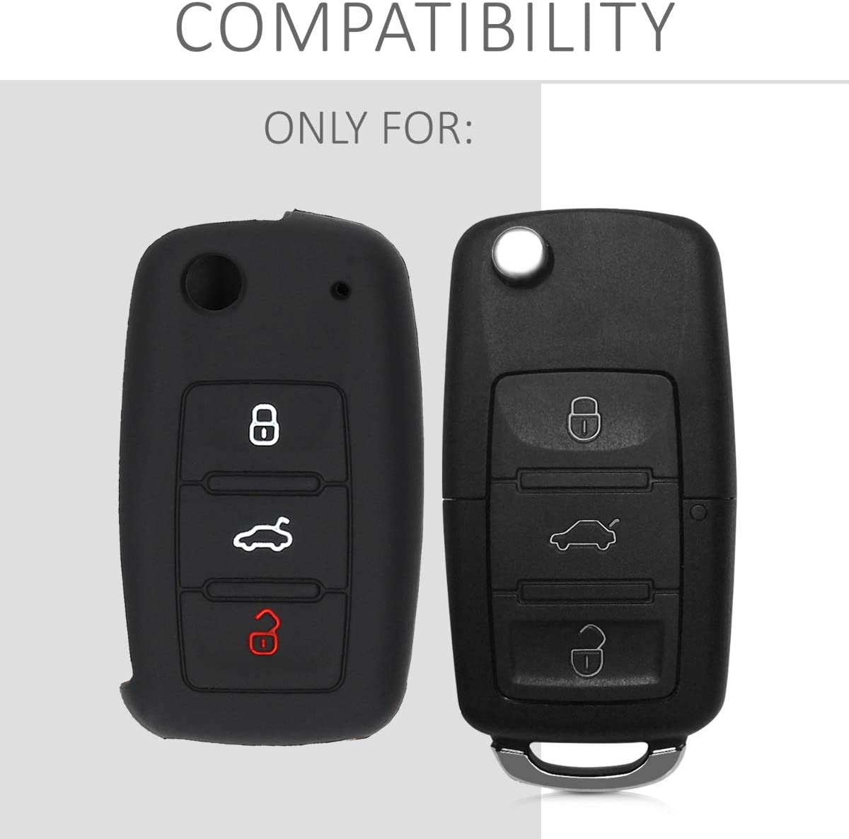 Silicone Protective Key Fob Cover kwmobile Car Key Cover Compatible with VW Skoda SEAT 3 Button Car Key Good Vibes Phrase White//Black