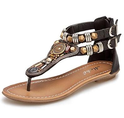 d79e1637d91a2 Lisyline Women s Retro T-Strap Rhinestone Coin Beaded Back Zip Thong Flat  Sandals Black