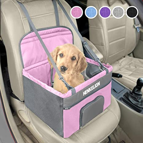 Green Pet Booster Seat Dog Booster Car Seat Dog Travel Carrier with Fixed Belt Safety Stable for Travel Look Out Perfect for Small and Medium Pets up to 20 lbs