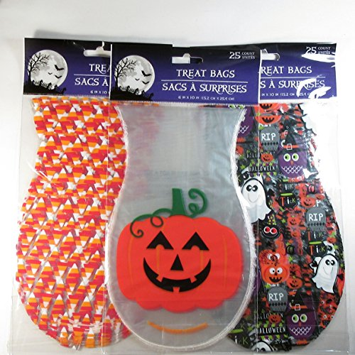 Halloween Treat Bags with Twist Ties 3 Designs, 75 Bags (Owl Halloween Treat Bags)