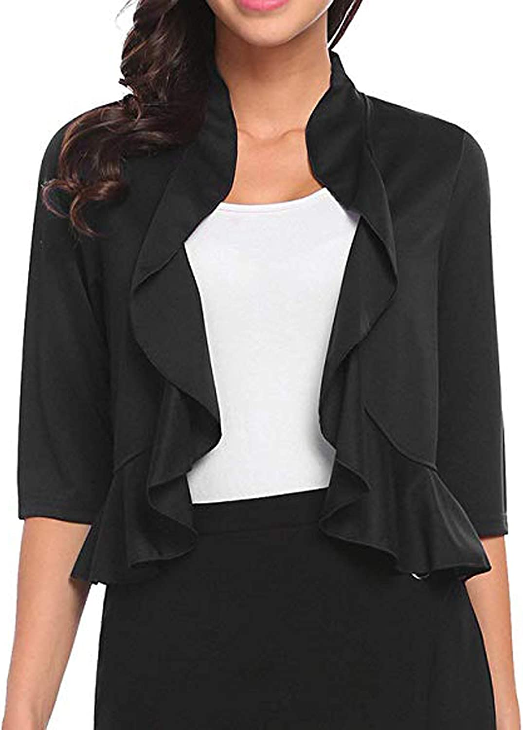 Meaneor Womens Open Front Cropped Cardigan 3//4 Sleeve Casual Shrugs Jacket Ruffles Lightweight Sweaters