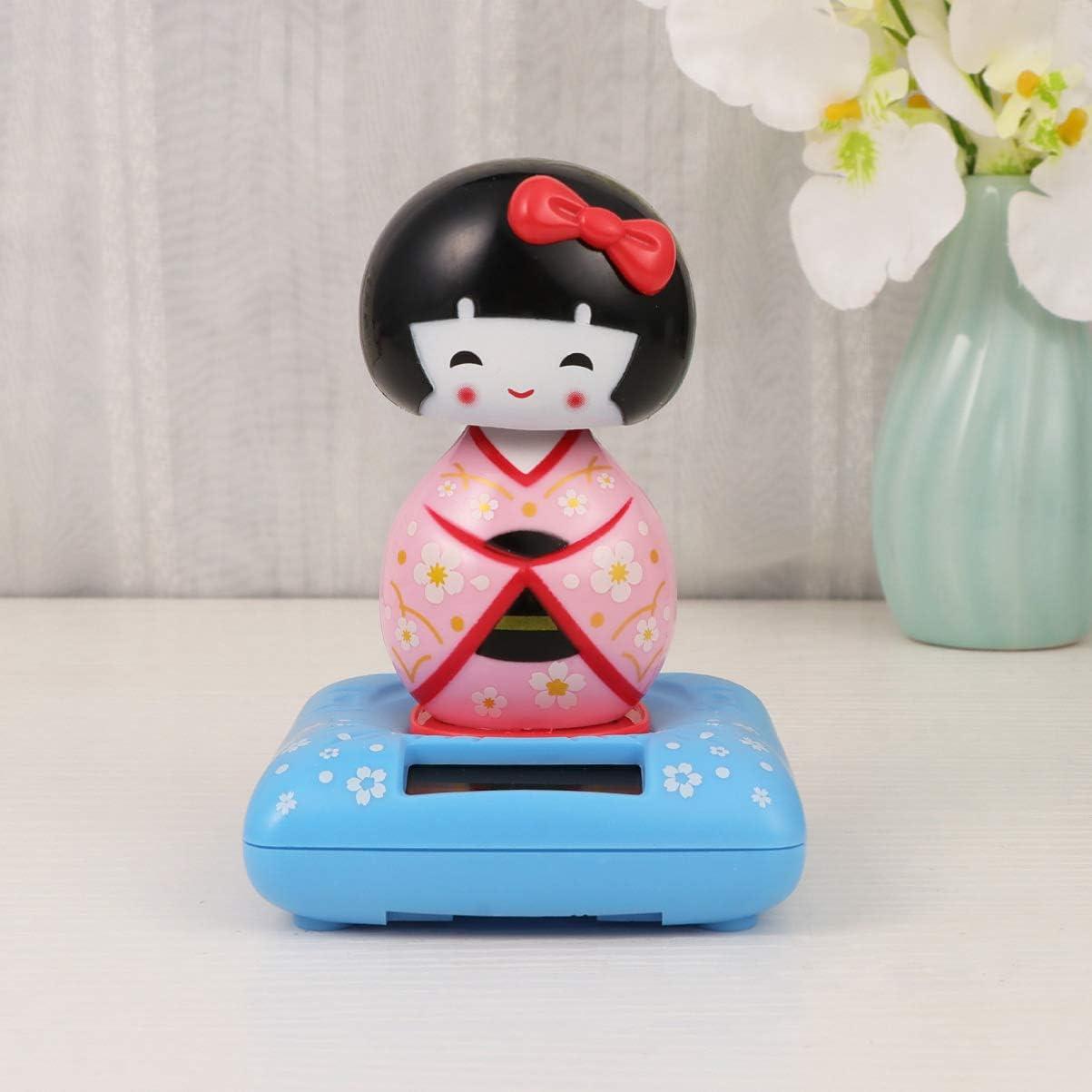 Amosfun solaire aliment/é bobble t/ête japonais kimono maiko voiture d/écoration ornement int/érieur dessin anim/é jouet no/ël cadeau voiture tableau de bord bureau bureau d/écor /à la maison violet