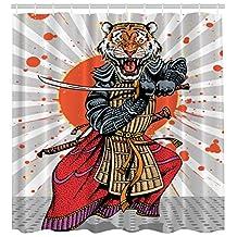 Wild Ninja Cartoon Masculine Tiger Leopard Samurai Sword Japanese Decor Fighter Japan Style Rising Sun Man Cave Fantasy Manga Anime Design Home Decor Shower Curtains Gray White Orange Red Charcoal