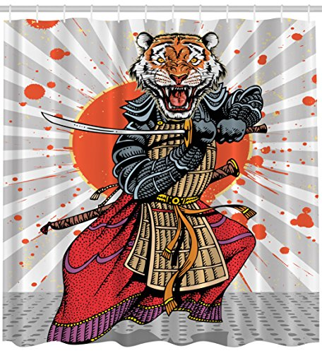 er Curtain Wild Ninja Cartoon Japanese Decor by, Masculine Tiger Leopard Samurai Sword Fighter Japan Style Rising Sun Man Cave Fantasy Manga Design Gray White Orange Red Charcoal ()