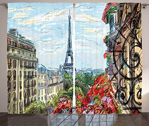 Scene Street Decor (Ambesonne Paris City Decor Collection, Street in Paris Town Traffic Trees Downtown Urban Life Exterior Monument Scene Print, Living Room Bedroom Curtain 2 Panels Set, 108 X 90 Inches, Red Green Blue)
