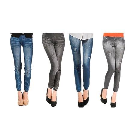 Pack de 4 Leggins jeans diferentes modelos mujer ropa licra (Pack 1): Amazon.es: Ropa y accesorios
