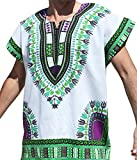 RaanPahMuang Brand Unisex Bright Cotton Africa Dashiki Afrikan Sleeveless Cap Shirt, X-Large, Green On White Review