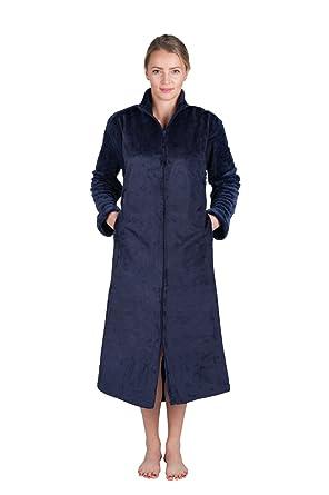 94c175b034 Super Plush Front Zipper Soft Robe Zipper Plush Bathrobe Front Zip Up Robe  at Amazon Women s Clothing store