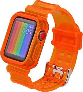 Hisri iWatch Band Strap with Rugged Bumper Protective Case Compatible with Apple Watch 40mm 38mm, iWatch Series 6/SE/5/4/3/2/1 (Orange, 38mm/40mm)
