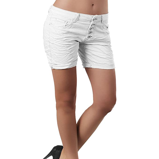 092158125ce1bf Juqilu Jeans Shorts für Damen - Kurze Denim Hosen Casual Kurz Jeans Bermuda Shorts  Hot Pants Shorts mit Taschen für Sommer und Frühling S-2XL: Amazon.de: ...