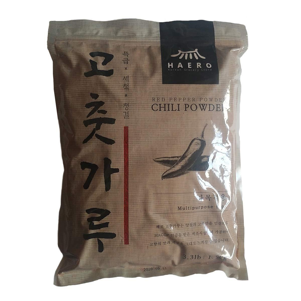 [HAERO] Red Chili Pepper Flakes Powder Gochugaru / 3.3LB (1.5kg) / 100% red pepper / Best for Korean cuisine such as kimchi, gochujang, tteokbokki, Korean Chicken Sauce, etc.