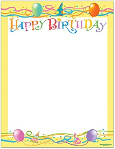 Birthday Stationery - 8.5 x 11-60 Letterhead Sheets - Happy Birthday Printer Paper