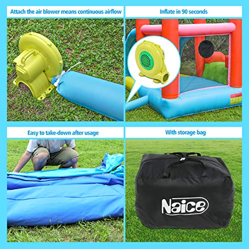 Naice Bounce House with Blower, Inflatable Bouncy House for Indoor Outdoor Jumping Castle with Slide, Durable Sewn and Extra Thick Oxford Cloth