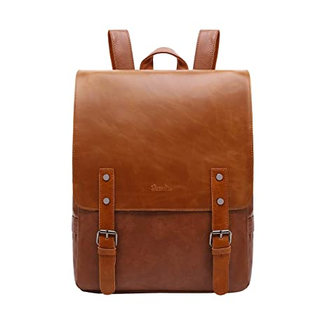 c60cde49528 Womens Leather Backpack Vintage Laptop Brown Backpack Faux Leather ...
