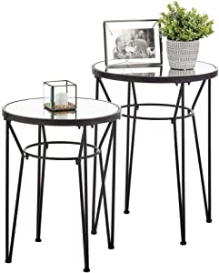 mDesign Round Metal & Mirror in-Lay Accent Table with Hairpin Legs- Side/End Table - Decorative Legs, Mirror Top - Home Decor Accent Furniture for Living Room, Bedroom - 2 Pack -Matte Black/Mirror