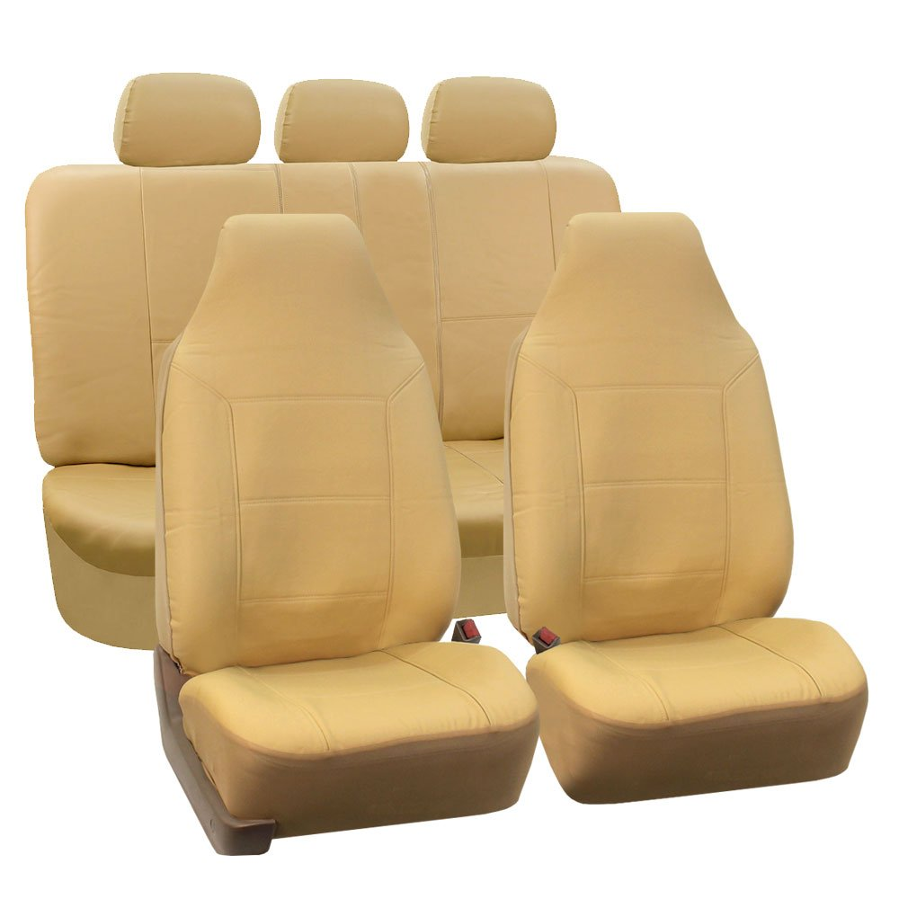 FH Group Universal Fit Full Set High Back Royal Seat Cover Black PU Leather Airbag Compatible and Rear Split, Fit Most Car, Truck, SUV, or Van, FH-PU103115