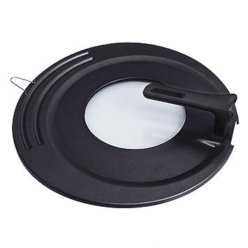 MyLifeUNIT Universal permanente Pot Tapa, templado cristal Pot Tapa para 16 - 20 cm de ollas sartenes 18 / 20 / 22 cm negro: Amazon.es: Hogar