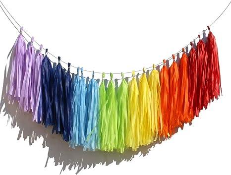 Tissue Garland Fiesta Baby Shower Rainbow Party Decorations Paint Party Decor Fiesta Tassel Garland Fiesta Birthday Rainbow Party